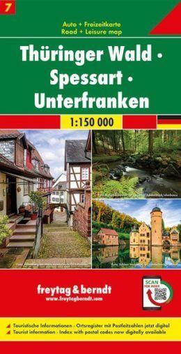 Thüringer Wald, Spessart, Unterfranken Autokarte im Maßstab 1:150.000 - Freytag&Berndt Karte 7