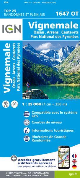IGN 1647 OT Vignemale Wanderkarte - Ossau, Arrens - Frankreich 1:25.000