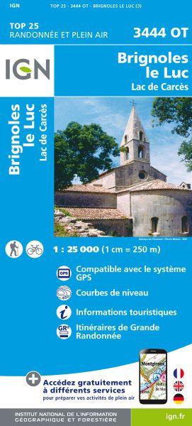 IGN 3444 OT Brignoles, Le Luc, Lac de Carces, Frankreich Wanderkarte 1:25.000