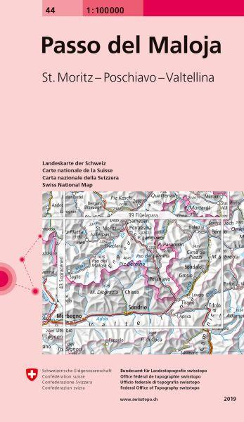 44 Passo del Maloja topographische Karte Schweiz 1:100.000