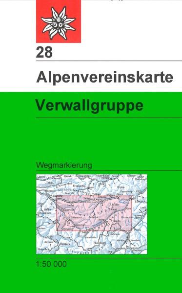 DAV Alpenvereinskarte 28 Verwallgruppe, Wegmarkierung 1:50.000