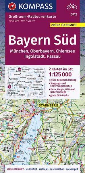 Kompass Großraum-Radtourenkarten Blatt 3712 Bayern Süd, Oberbayern, Chiemsee, Ingolstadt, Passau, Mü