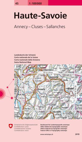 45 Haute-Savoie topographische Karte Schweiz 1:100.000