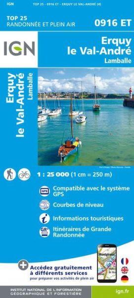 IGN 0916 ET Erquy, Le Val-Andre, Lamballe, Frankreich Wanderkarte 1:25.000