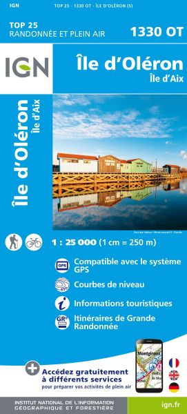 IGN 1330 OT Ile d'Oleron, Ile d'Aix, Frankreich Wanderkarte 1:25.000