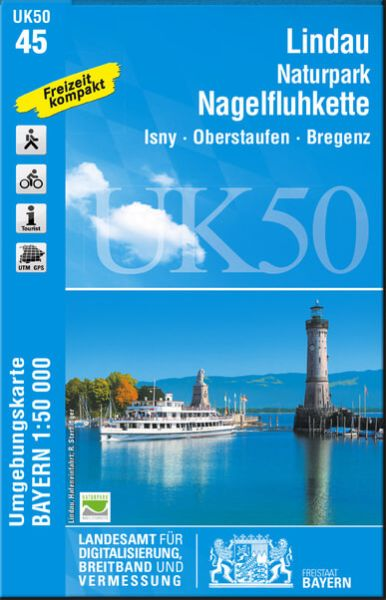 UK50-45 Lindau - Naturpark Nagelfluhkette Rad- und Wanderkarte 1:50.000 - Umgebungskarte Bayern