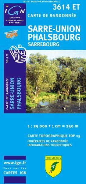 IGN 3614 ET Sarre-Union, Phalsbourg, Frankreich topographische Wanderkarte 1:25.000