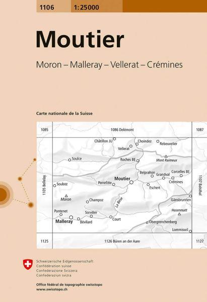 1106 Moutier topographische Karte Schweiz 1:25.000