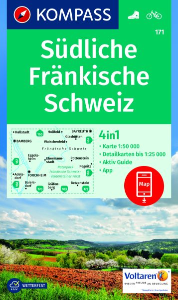 Kompass Karte 171, Südliche Fränkische Schweiz 1:50.000, Wandern, Rad fahren