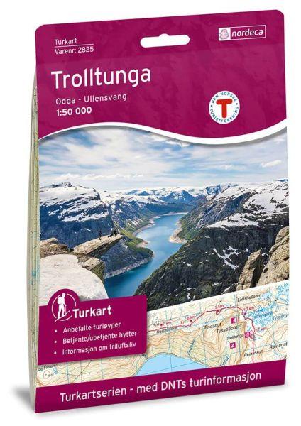 Trolltunga, Odda - Ullensvang Wanderkarte 1:50.000 – Norwegen, Turkart 2825 von Nordeca