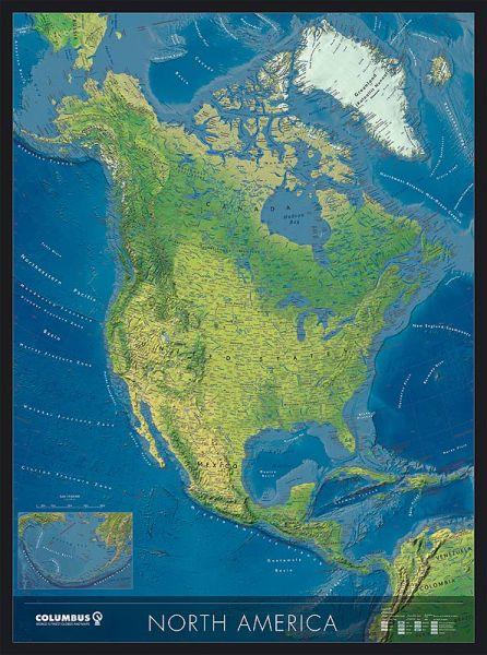 Columbus Kontinentkarte Nord-Amerika, physisch / politisch – 115 cm x 85 cm