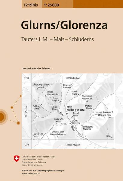 1219 bis Glorenza / Glurns topographische Wanderkarte Schweiz 1:25.000