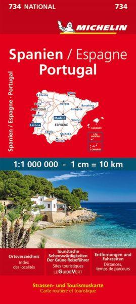 Michelin 734 Spanien, Portugal; Ortsverzeichnis, Entfernungen und Fahrzeiten 1:1.000.000