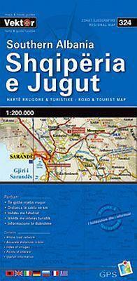 Albanien Süd Straßenkarte 1:200.000, Vektor 324