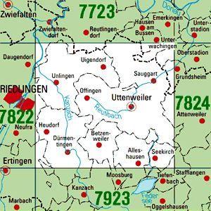 7823 UTTENWEILER topographische Karte 1:25.000 Baden-Württemberg, TK25