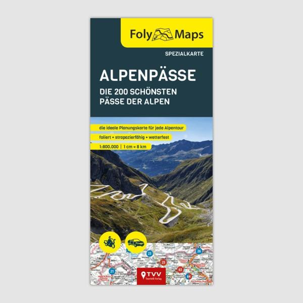 Motorradkarte Alpenpässe, 1:800.000, FolyMaps