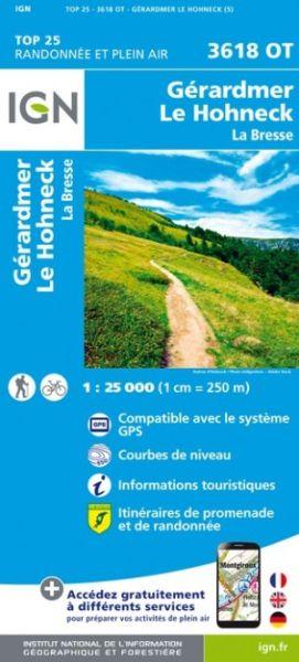 IGN 3618 OT Le Hohneck, Gerardmer, Frankreich topographische Wanderkarte 1:25.000