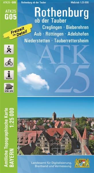 ATK25 G05 Rothenburg ob der Tauber, 1:25.000 amtliche topographische Karte mit Wander- und Radwegen