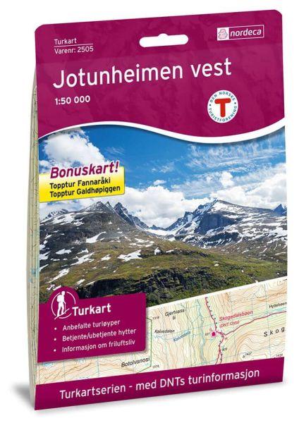 Jotunheimen West / Vest Wanderkarte 1:50.000 – Norwegen, Turkart 2505 von Nordeca