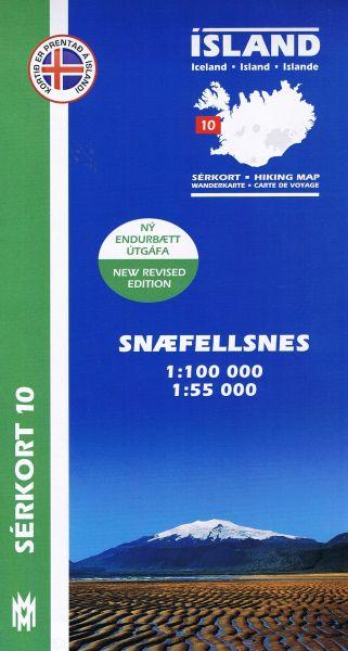Sérkort 10: Snaefellsnes / Snæfellsnes - Island Wanderkarte 1:100.000 / 1:55.000