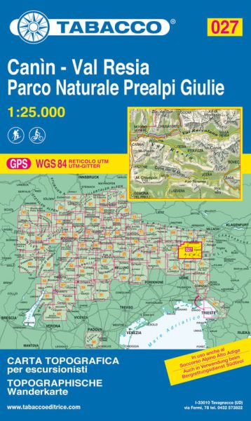Tabacco 027 Canìn Val Resia - Parco naturale Prealpi Giulie Wanderkarte 1:25.000