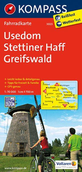 Kompass Fahrradkarte Blatt 3023, Usedom, Settiner Haff, Greifswald 1:70.000