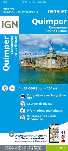 IGN 0519 ET Quimper, Concarneau, Frankreich Wanderkarte 1:25.000