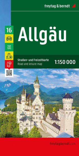 Allgäu Autokarte im Maßstab 1:150.000 - Freytag&Berndt Karte 16