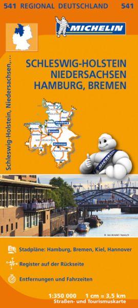 Michelin 541 Schleswig - Holstein - Hamburg - Niedersachsen - Bremen; Straßenkarte