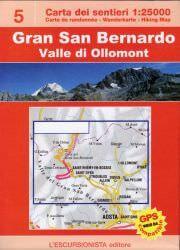 Gran San Bernardo, topographische Wanderkarte 1:25.000 L'Escursionista editore Bl.5