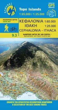 Kefalonia – Ithaka, Wanderkarte 1:65.000/1:25.000, Anavasi 9.3, Griechenland, wetterfest
