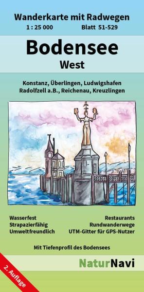 Bodensee West 1:25.000 Wanderkarte mit Radwegen – NaturNavi Bl. 51-529