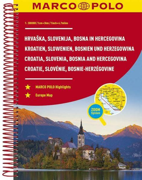 Kroatien, Slowenien, Bosnien und Herzegowina Straßenatlas, 1:300.000, Marco Polo