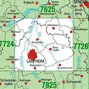 7725 LAUPHEIM topographische Karte 1:25.000 Baden-Württemberg, TK25