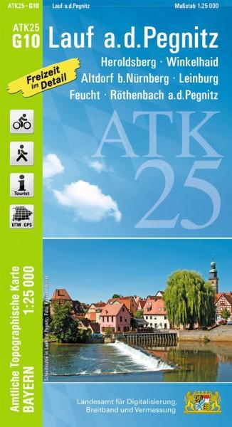 ATK25 G10 Lauf a.d.Pegnitz, 1:25.000 amtliche topographische Karte mit Wander- und Radwegen, Bayern