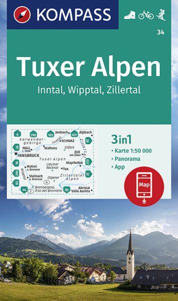 Kompass Karte 34, Tuxer Alpen 1:50.000, Wandern, Rad fahren