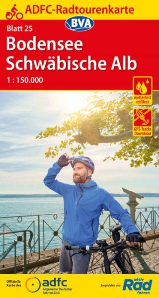 ADFC Radtourenkarte 25, Bodensee - Schwäbische Alb Radwanderkarte 1:150.000