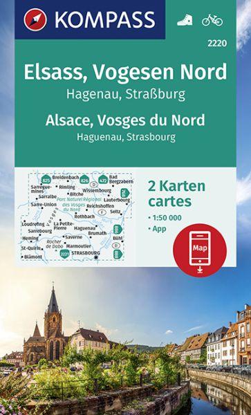 Kompass Karte 2220, Elsass, Vogesen Nord 1:50.000, Wandern, Rad fahren