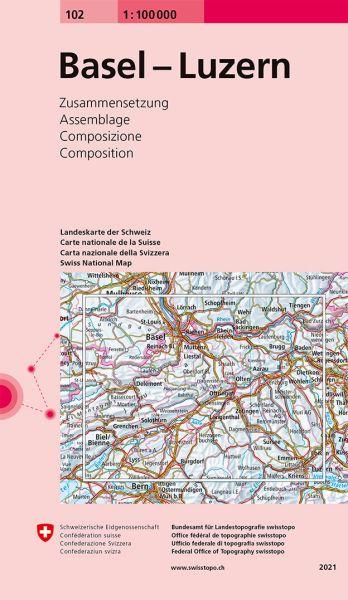 102 Basel - Luzern, topographische Karte Schweiz 1:100.000