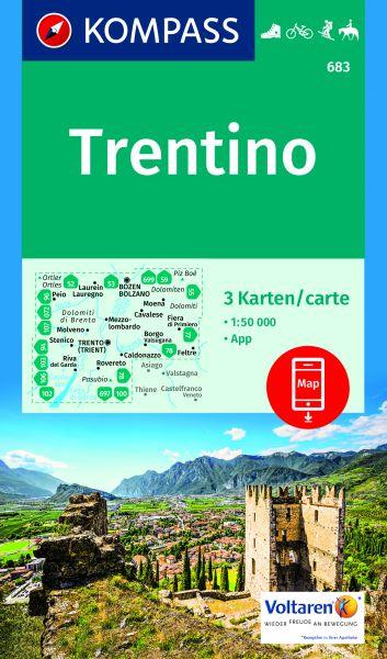 Kompass Karten Set 683, Trentino 1:50.000, Wandern, Rad fahren