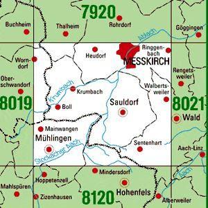8020 MESSKIRCH topographische Karte 1:25.000 Baden-Württemberg, TK25