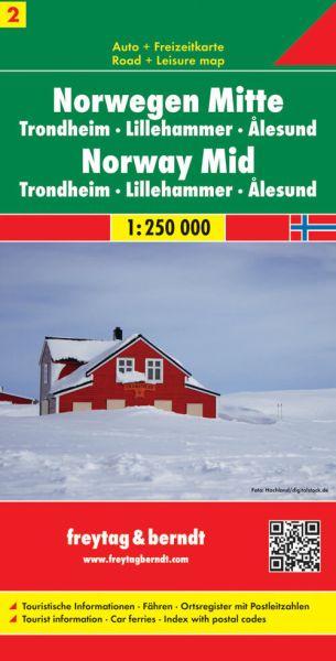 Norwegen Mitte - Trondheim, Lillehammer, Alesund, Straßenkarte 1:250.000, Freytag und Berndt