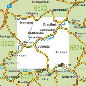 6623 INGELFINGEN topographische Karte 1:25.000 Baden-Württemberg, TK25