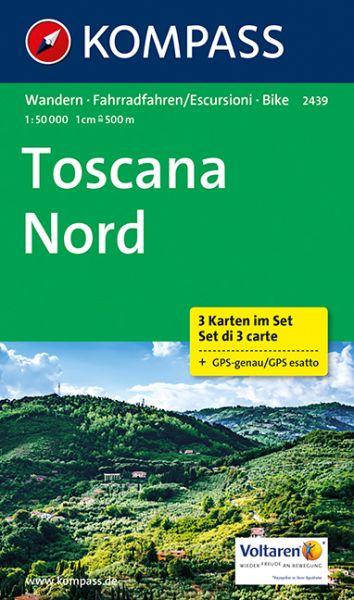 Kompass Karte 2439, Toskana Nord 1:50.000, Wandern, Rad fahren