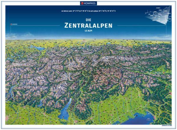 Kompass Panorama Zentralalpen Poster