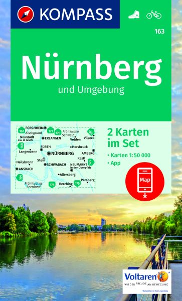 Kompass Karten-Set 163, Nürnberg 1:50.000, Wandern, Rad fahren