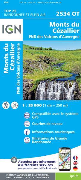 IGN 2534 OT Monts du Cezallier, Frankreich Wanderkarte 1:25.000
