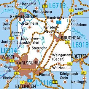L6916 Karlsruhe / N topographische Karte 1:50.000 Baden-Württemberg, TK50