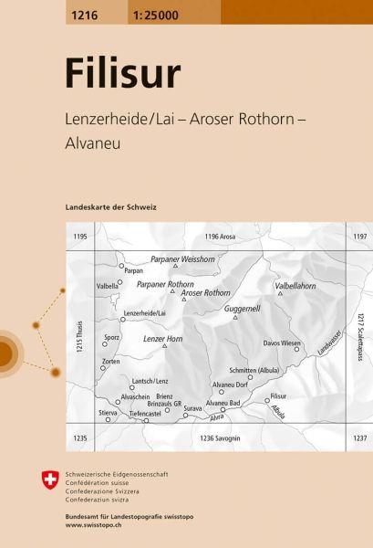 1216 Filisur topographische Karte Schweiz 1:25.000