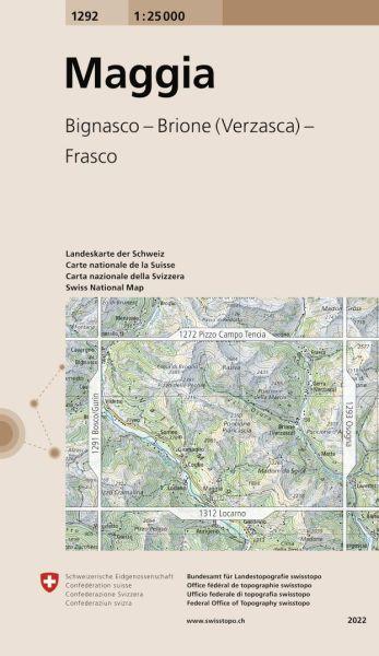 1292 Maggia topographische Wanderkarte Schweiz 1:25.000